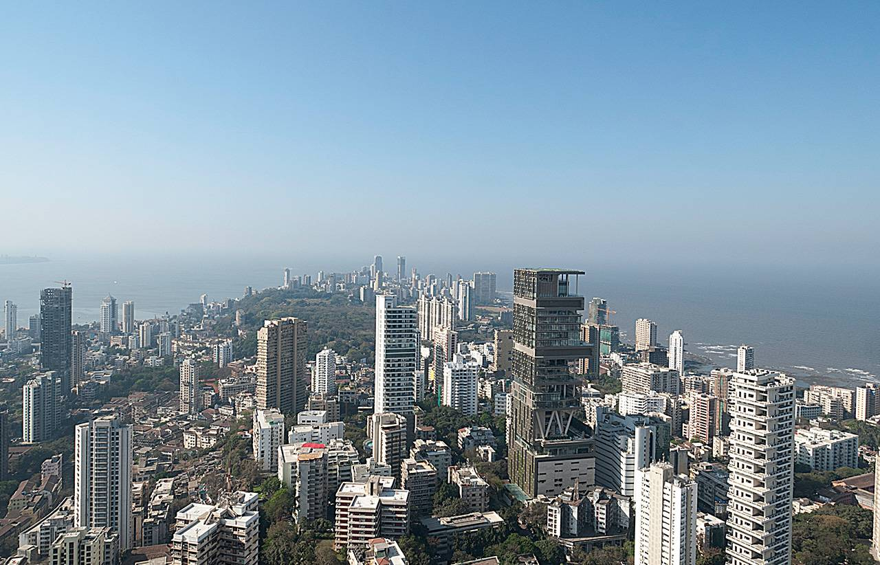 Tall buildings in the foreground, facing out towards the coast of an Indian metropolis.