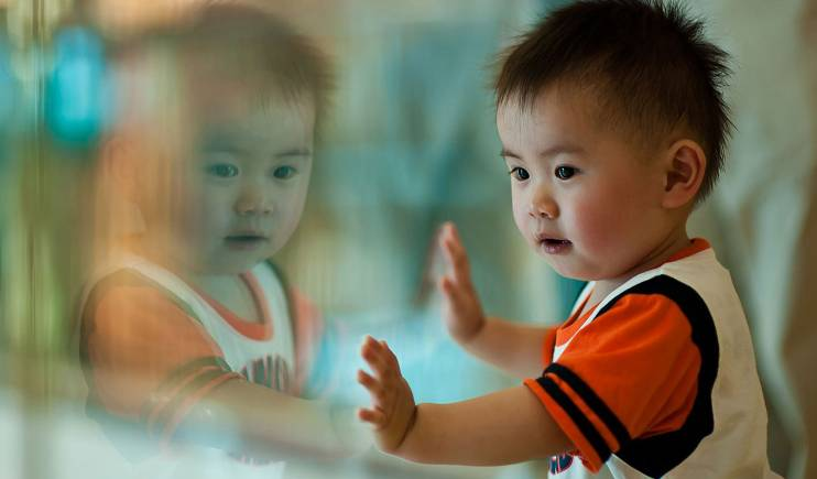 An Asian toddler dressed in athletic clothing stands at a glass wall and examines his reflection.