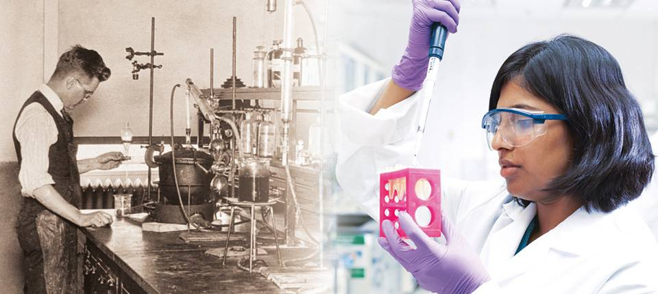Then and now image of an Abbott laboratory and Abbott technicians