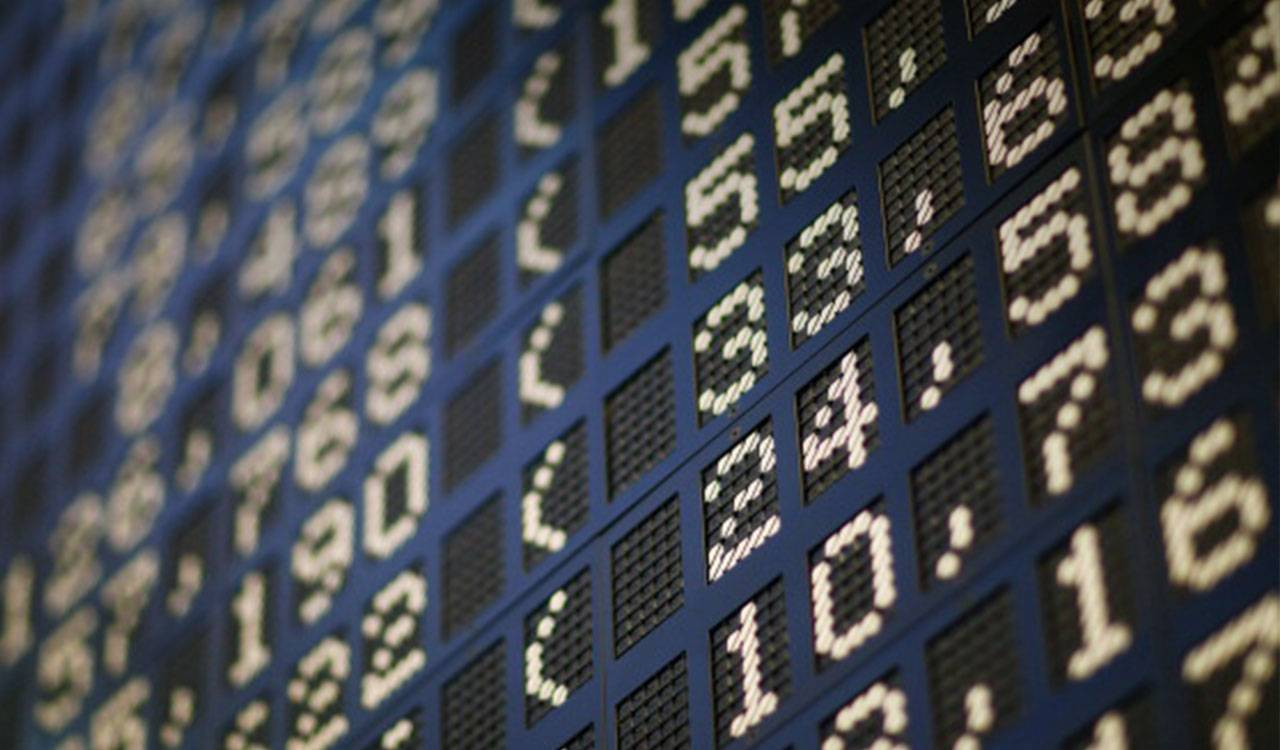Close up of digital stock exchange ticker board.