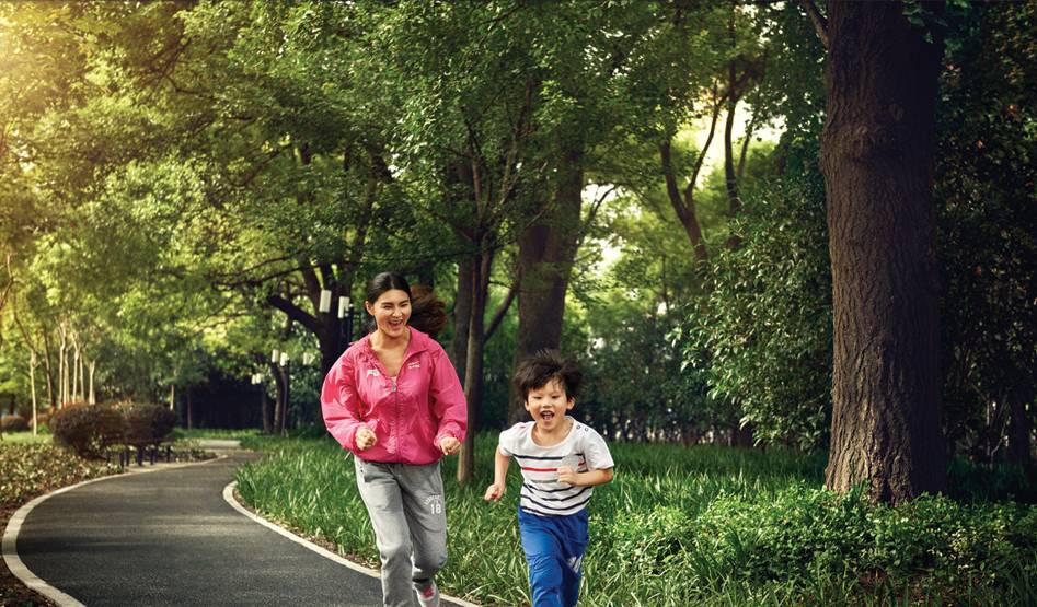 Mother and son jogging