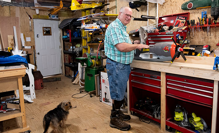 Kevin Beck, in his workshop.